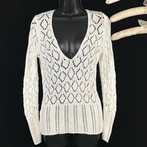 Loft White Knit Diamond Pattern Top